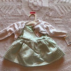 Baby girl dress 3-6M silver& mint with sweater